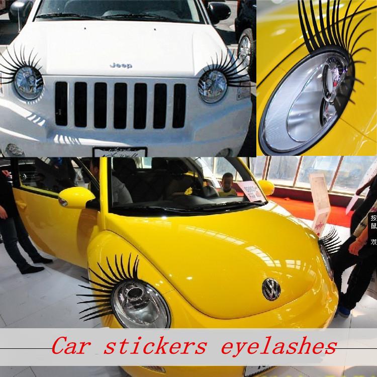 2015 New Quality Brands 3D Automotive eyelashes car eye lashes auto 3D Eyelash 3D Cars personalized car stickers(China (Mainland))
