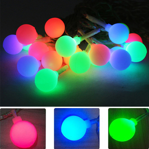 Colorful String Lights : 20LED Colorful Solar string lights garden lights frosted small ball Starry Christmas light ...