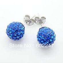 Free Shipping Pave Clay Shamballa Disco Ball Earring Stud, Wholesales Shamballa Earrings(China (Mainland))