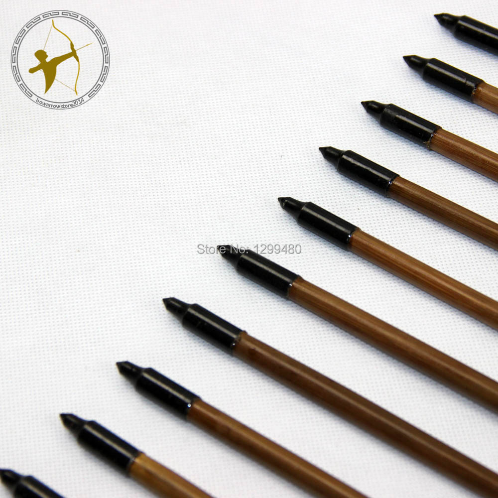 Free Shipping 12 Pcs Archery Traditional Hunting Shooting Broadheads Self Nocks Real Turkey Feather Bamboo Shaft
