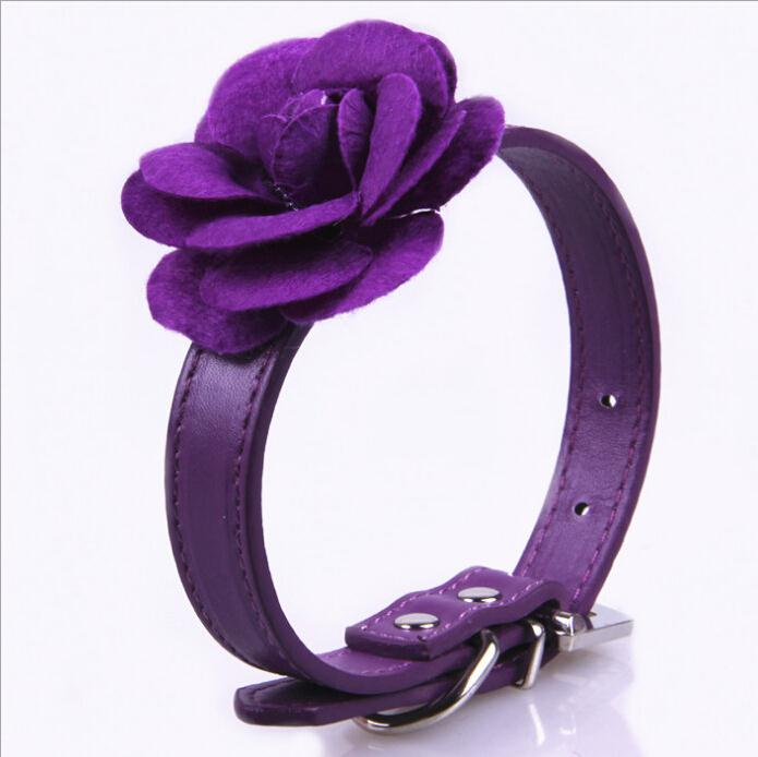 Flower Pattern Collar Necklace PU Leather Dog Pet Collars Pink Red Purple Blue(China (Mainland))