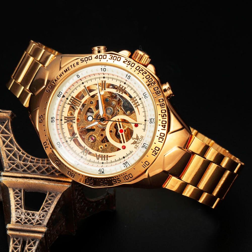 Sewor марки нержавеющей стальной ленты скелет автоматические механические аналоговые мужские наручные часы мода наручные часы 2016 новый бесплатная доставка