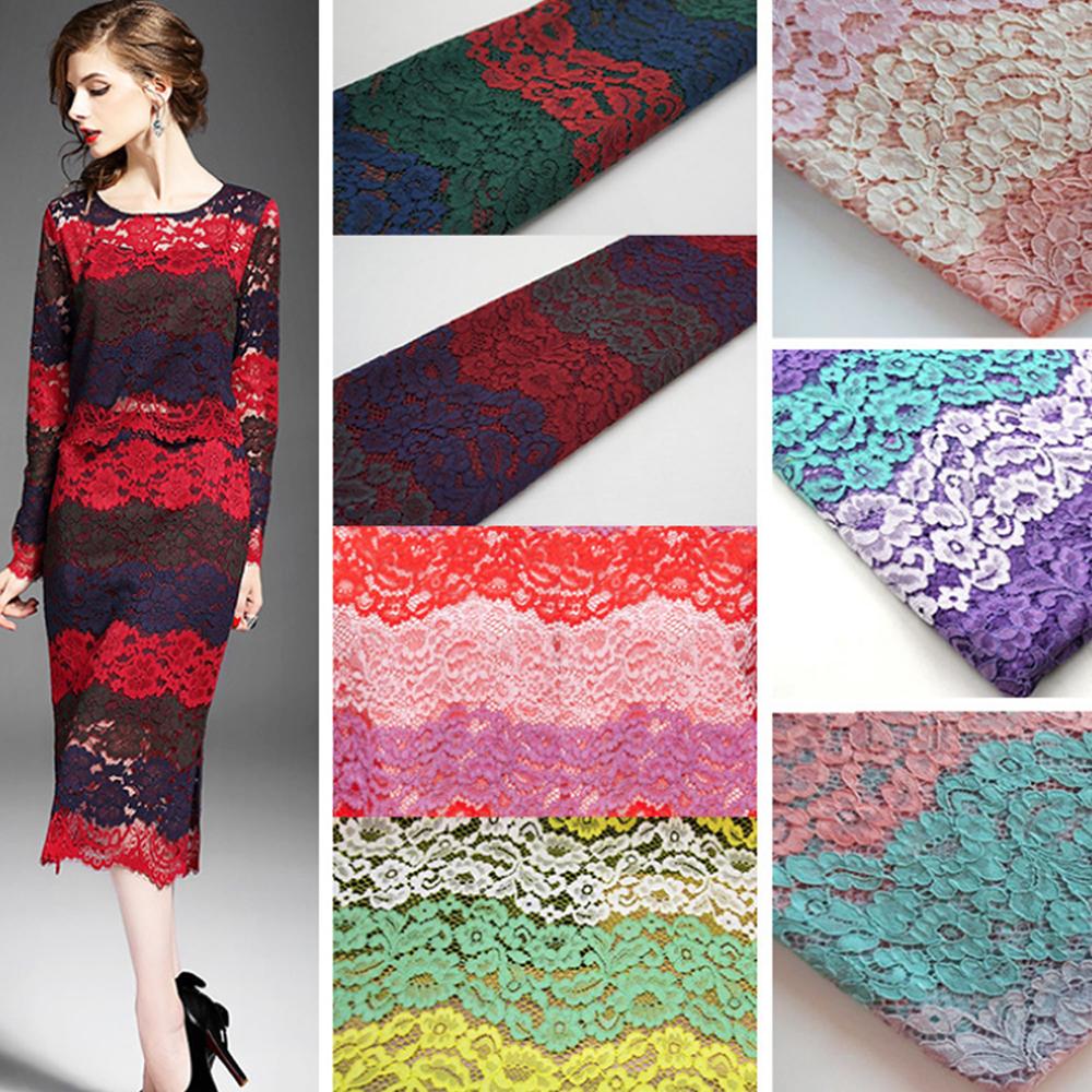 High quality tricolor hollow lace cloth guipure lace fabric for sewing african cord lace fabric for wedding Women dress Lace(China (Mainland))