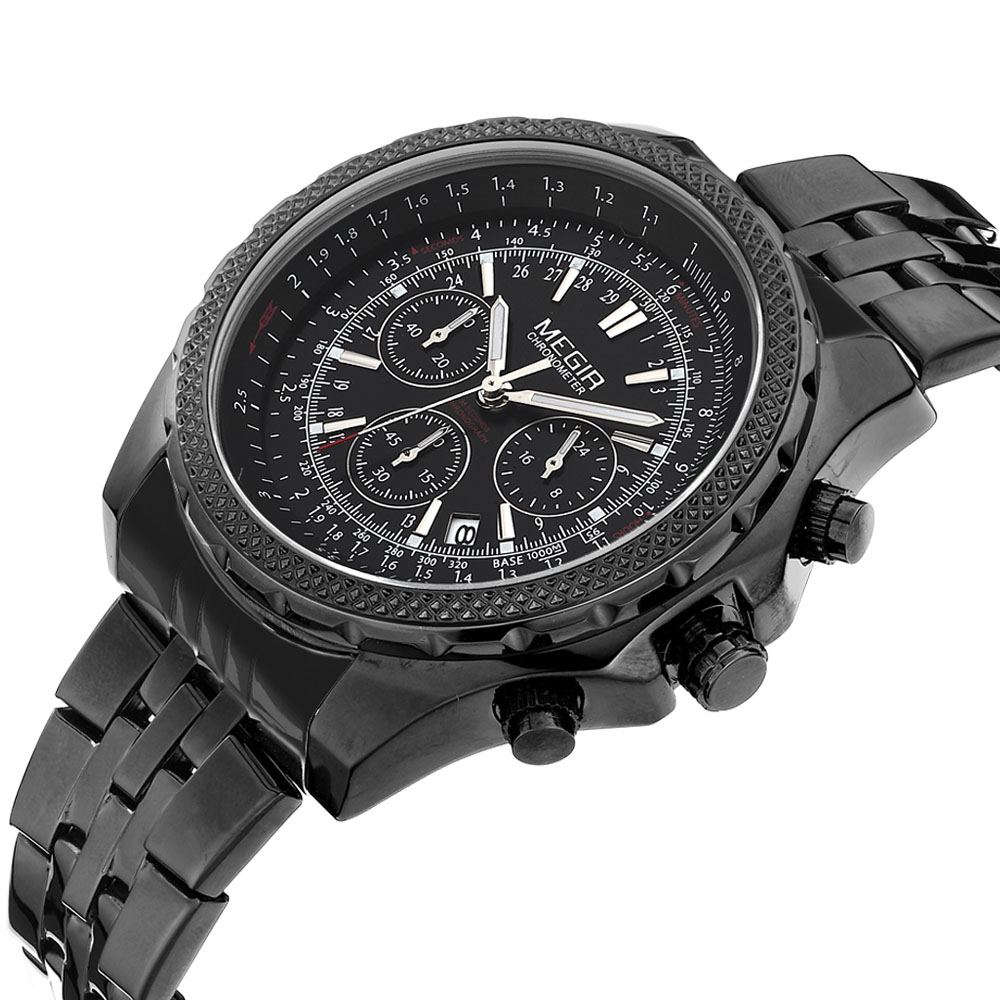 Megir Brand Men's Full Steel Casual Quartz Watches 3 ATM Water Resistant 24 Hours Chronograph Work Men Dress Watch Wristwatches
