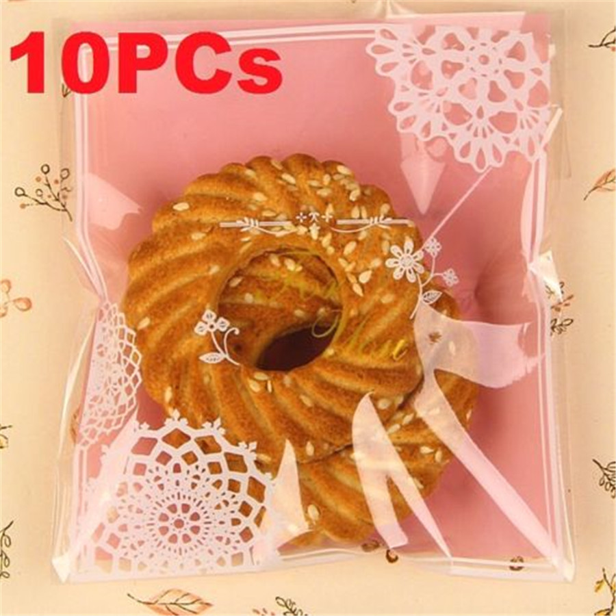 FD3840 new Lace Floral Candy Baking Cookies Soap Self Adhesive Decor Gift Bag 10PCs(China (Mainland))