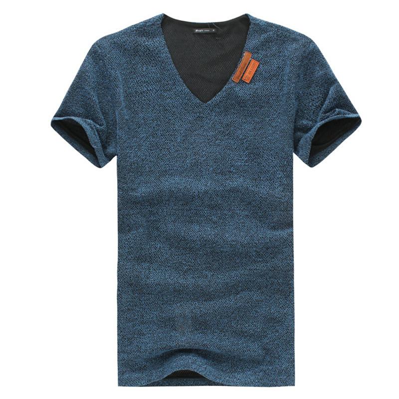 Mens T Shirts Fashion 2015 New Large Size Men Short Sleeve V-neck T-shirt Hollow Out Fashion Slim M-6XL(China (Mainland))