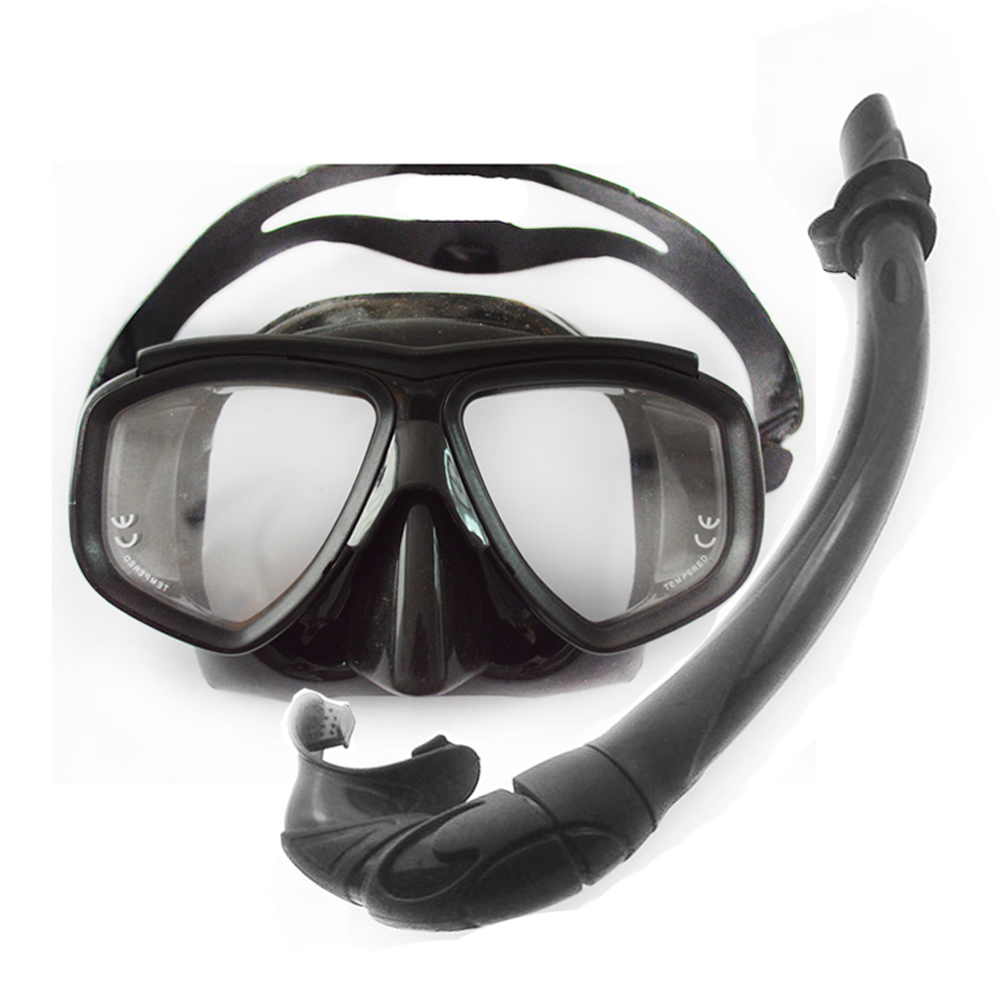 Professional low volume spearfishing diving mask and snorkel tube flexable silicone diving snorkel black silicone diving gears(China (Mainland))