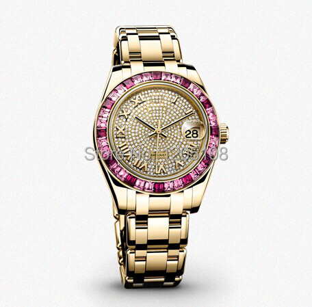Free shipping Top quality Ladies oyster perpetual watches full diamond ruby bezel datejust rose gold Stainless Steel Wristwatch(China (Mainland))