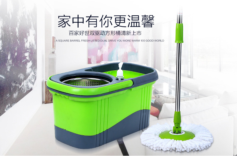Double drive mop rotary cotton mop mop bucket factory direct household free hand wash mop free shipping(China (Mainland))