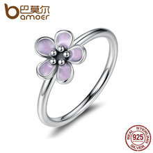 BAMOER Light Purple Elegant 925 Sterling Silver Finger Rings for Women High Quality Engagement Jewelry anelli PA7169(China (Mainland))