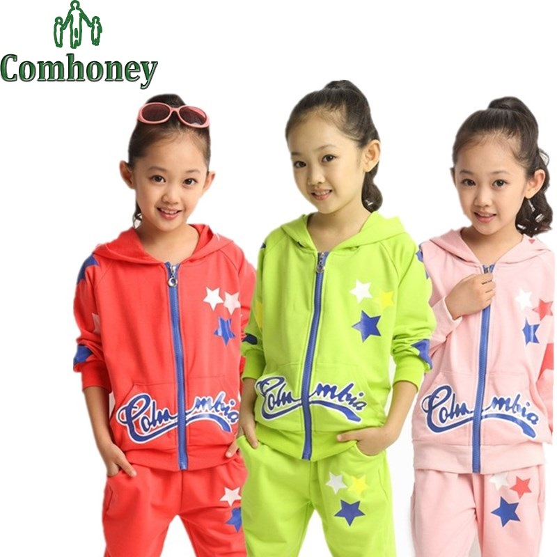 Girls Sport Suit Cartoon Stars Baby Girls Clothing Sets Children's Wear Baby Tracksuit Girls Hoodies+Pants Set Child Clothing(China (Mainland))