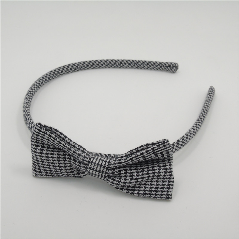 10pcs/lot Black and White Houndstooth Headband Comfortable Classic Bow Knot Hairband High Quality Fabric Fall Bands for Girls(China (Mainland))
