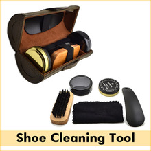 New Outdoor Travel Shoe Shine Care Wooden Polish Cream Brush Kit Shoes Cleaning Tool(China (Mainland))