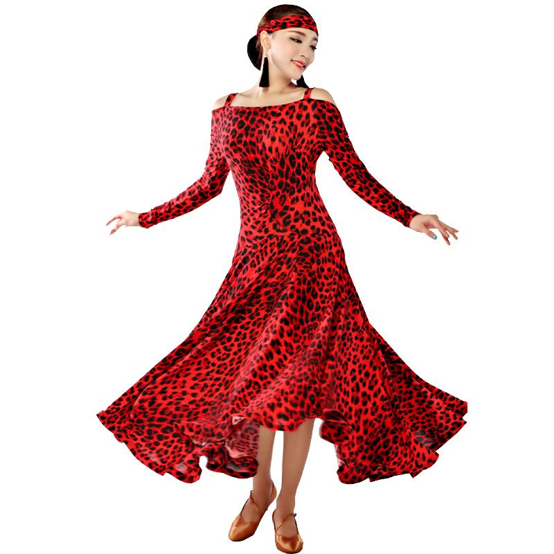 Fashion Boat Neck Style Long Dresses Red Leopard Slims Latin Dresses Womans Rumba Cha-cha Tango Dancing Clothing TL204Одежда и ак�е��уары<br><br><br>Aliexpress