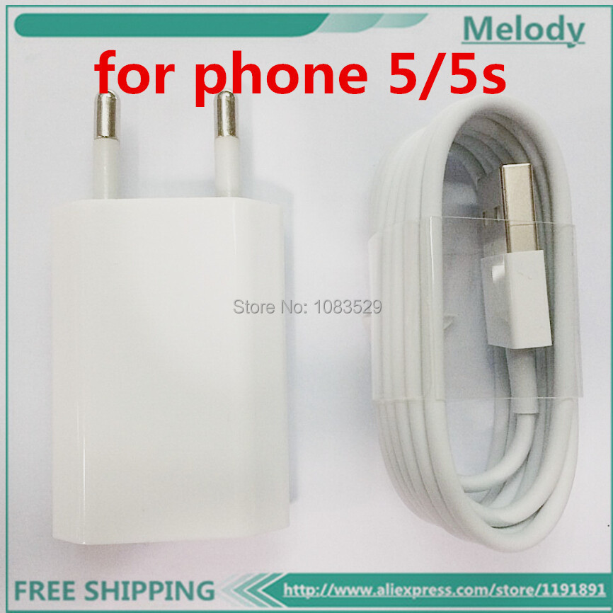 Original quality For Apple Iphone 6 6plus 6s EU Euro European Wall Charger + 8 Pin to USB Data Cable for iPhone 5 5C 5S 6 6plus