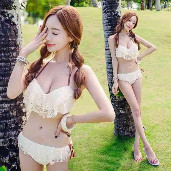 Free Shipping new 2015 triangle bikini just occasional gathered lace fabric Spa female swimsuit swimwear 1432586994(China (Mainland))