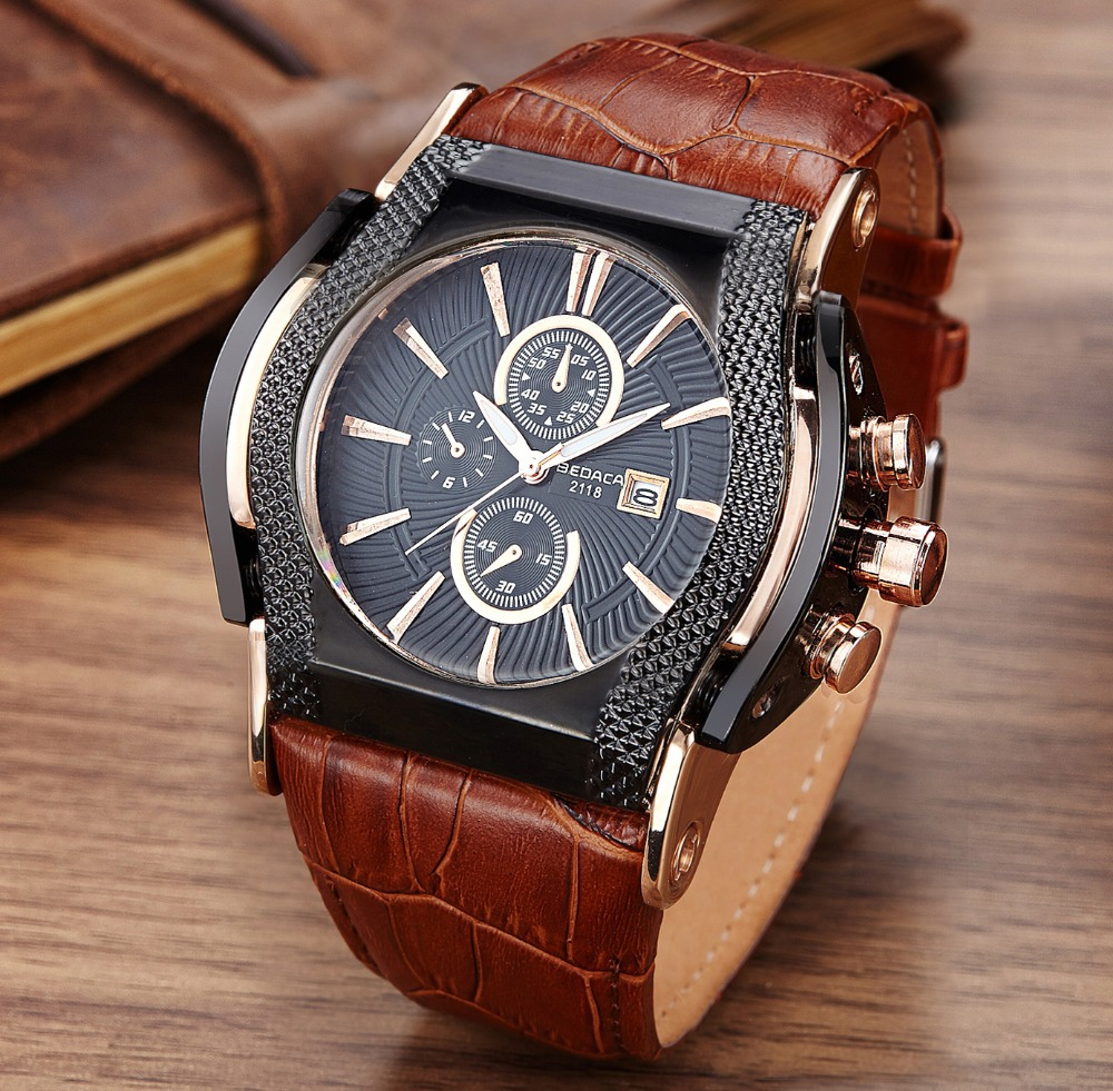 Fashion Casual Watches Men Military Sport Quartz Watch Square Leather strap Wrist watches relojes relogio masculino