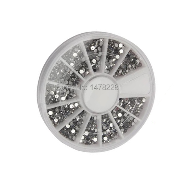 2000 1 5mm Clear Transparent Round Glitter Nail Art Rhinestones Wheel B2C Shop