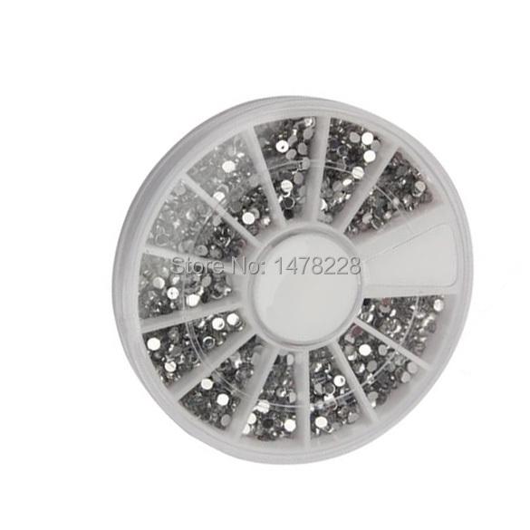 2000 1.5mm Clear Transparent Round Glitter Nail Art Rhinestones Wheel B2C Shop(China (Mainland))