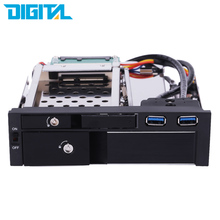 "Dual Bay 3.5"" + 2.5"" Inch SATA III Hard Drive HDD & SSD Tray Caddy Internal Mobile Rack Enclosure Docking Station with Key Lock(China (Mainland))"