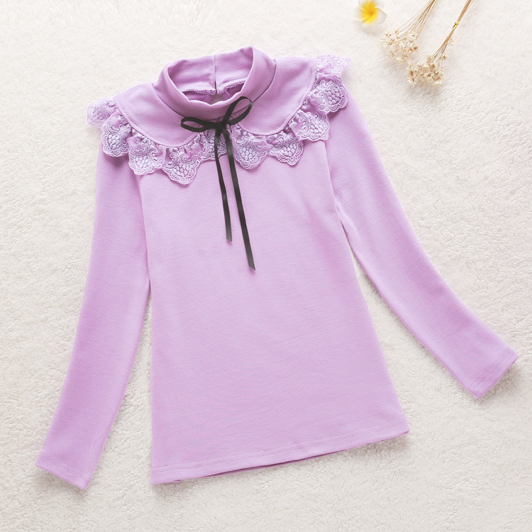 2016 Baby Girls Blouses School Style Children Clothing Girls Long Sleeve lace Princess shirts Turtleneck Girl Bottoming Shirts