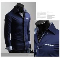 큰 판매! 무료 배송 2015 남성 슬림 맞춤 고유 neckline 세련된 드레스 긴 소매 셔츠 남성 드레스 셔츠 6 색상 크기: M-XXL의