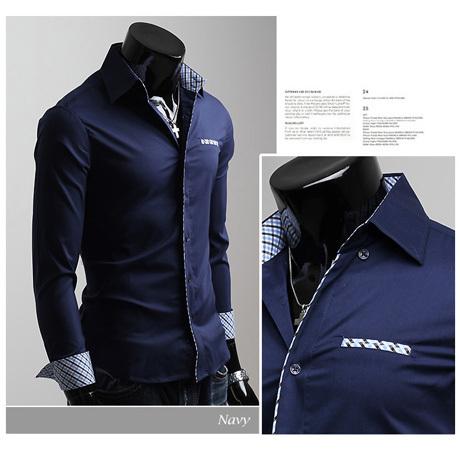 big sale!Free Shipping 2015 Mens Slim fit Unique neckline stylish Dress long Sleeve Shirts Mens dress shirts 6colors size: M-XXL(China (Mainland))