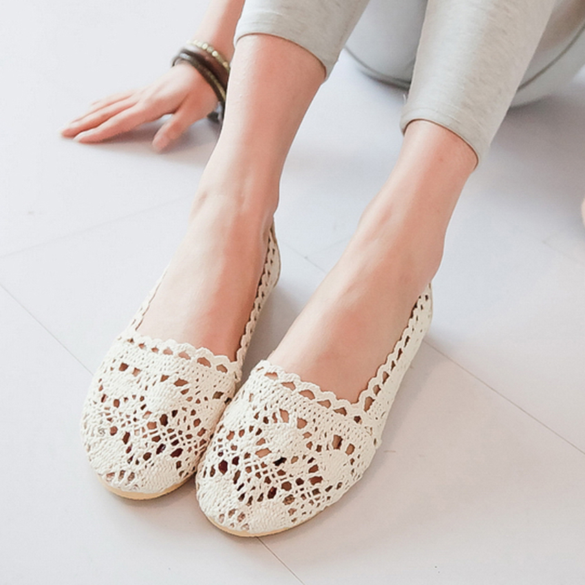 2015 Flat Women Shoes Weave Flats Summer Style Zapatos Mujer Sutout Fresh Lace Crochet Knitted Shoes Woman Round Toe Woman Shoes(China (Mainland))