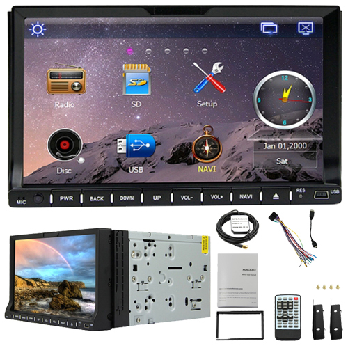 2 Din Rungrace Universal 7 inch Windows CE 6 0 Car DVD Player with Bluetooth GPS
