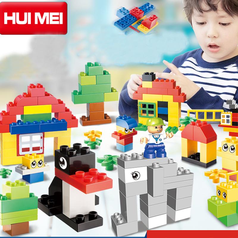 Kids Toys Building Blocks Assembled toy Compatible Minifigures magformers large particles Plastic blocks bricks 123 PCS