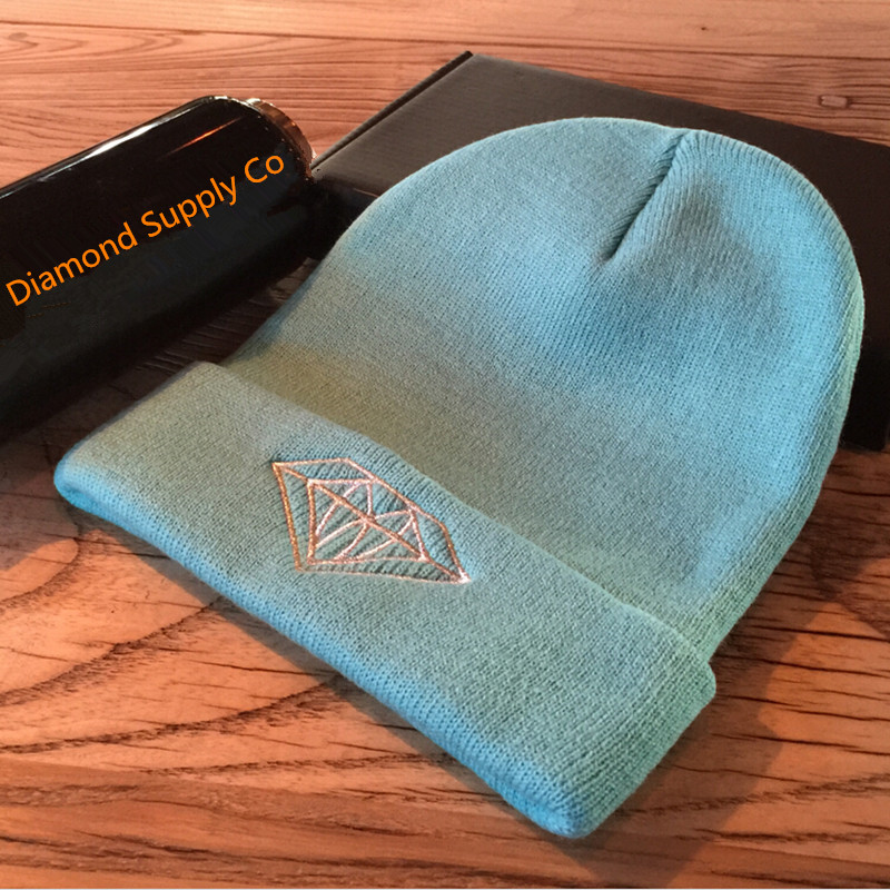 Brand Diamond Supply Co Winter Hip Hop Cap Beanies hats top quality cotton embroidery knitted caps hip hop cap Free shipping(China (Mainland))