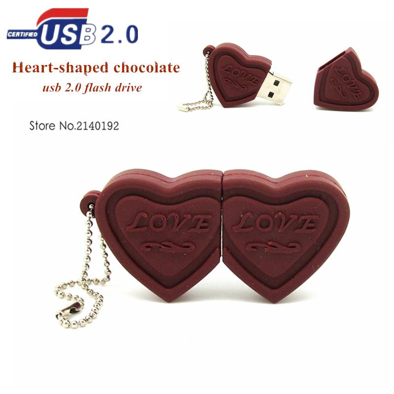 2016 Newest style love chocolate cute USB Flash drive heart shaped Pen Drive 8GB 16GB 32GB pendrive memory stick real capacity(China (Mainland))