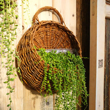 Rattan Flower Basket Shape Flower Plant Hanging Vase Container Home Indoor Office Wedding Decor Wickered Wall Vase Free Shipping(China (Mainland))