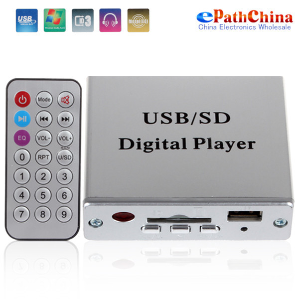 Power Amplifier SD / USB Audio Player Reader Digital Car Mp3 Player 3 Electronic Keypad Control with Remote(China (Mainland))
