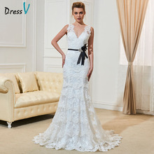 Buy Dressv sexy backless lace wedding dress ivory v neck court train simple mermaid long wedding dress outdoor appliques bridal gown for $134.73 in AliExpress store