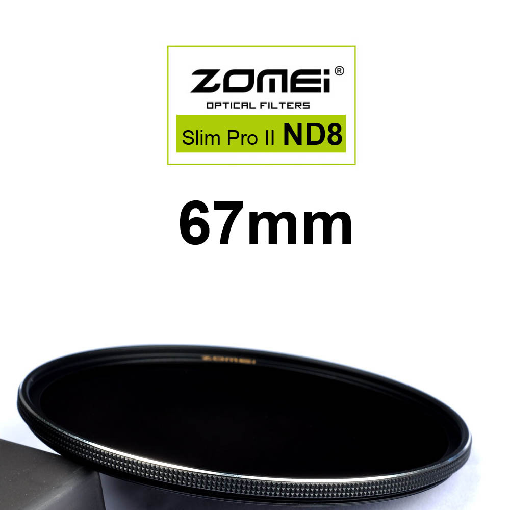 Zomei 67mm Ultra Slim ND8 ND0.9 8X 3 Stop Exposure Sliver Rimmed Glass Neutral Density ND Filter for Canon Nikon Sony lens 67 mm(China (Mainland))
