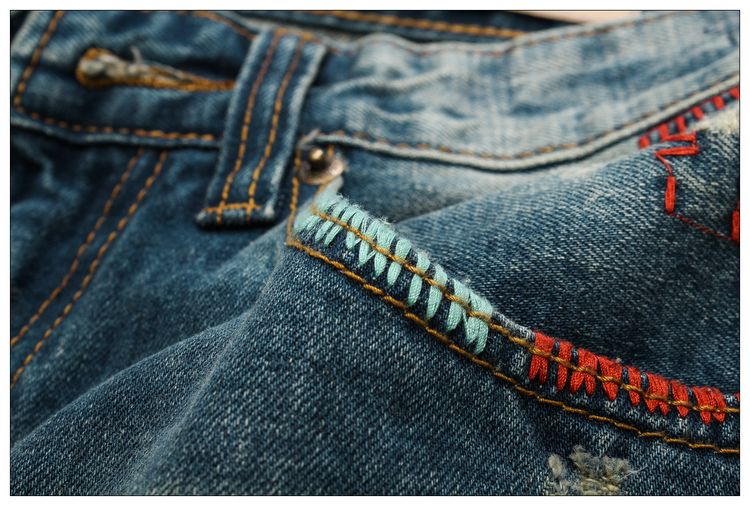 designer brand of pants new boy jeans men hole straight embroidery quality jeans