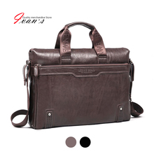 New 2016 men leather briefcase computer Laptop Bag brands Business handbag Men's Travel Bags Retro Briefcase brown black