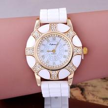 2016 New Fashion Luxury Women dress watches Brand New Casual Silicone straps Rhinestone wristwatches Laides Quartz Jelly watch(China (Mainland))