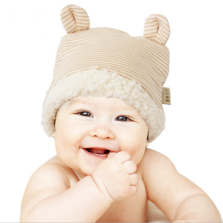 Baby Autumn winter hat beige organic cotton baby hat baby photography props babies cap(China (Mainland))