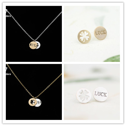 2015 Fine Costume Jewelry Metal Stainless Steel Silver Gold Letter Luck and Clover Necklace Earrings For Women Men Wedding Gift<br><br>Aliexpress