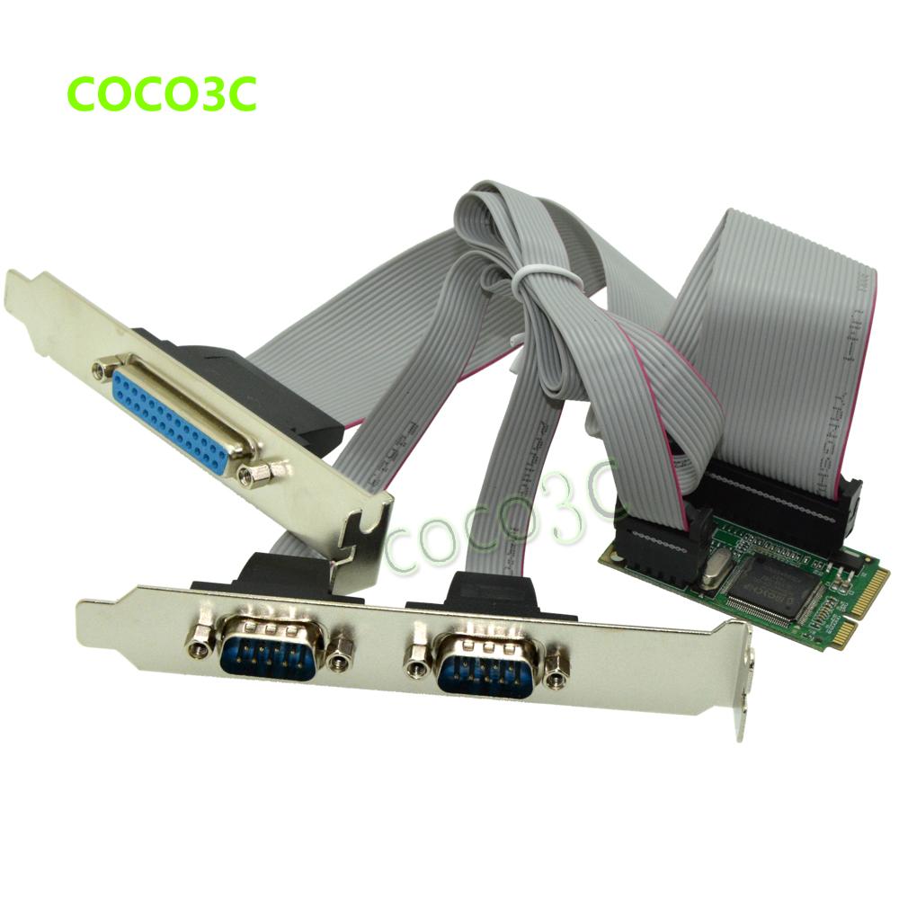 Mini PCIe 2 Serial ports + 1 Parallel port I/O Controller card mini PCI-e to RS232 ports DB9 + DB25 COM card adapter(China (Mainland))