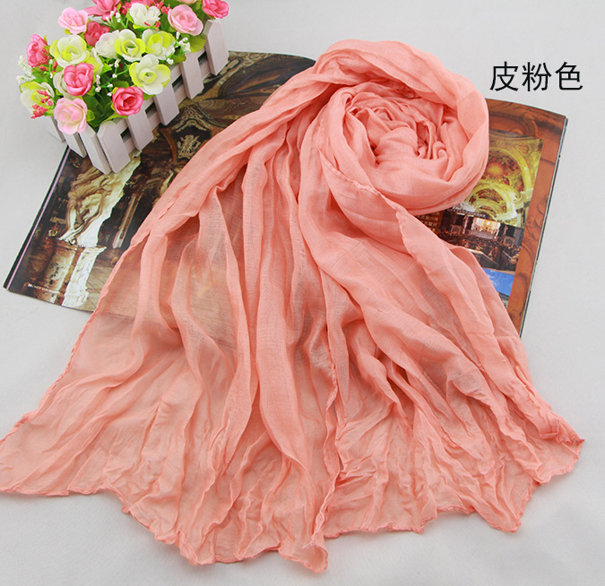 2015 Fashion Scarf Spring and Winter Cotton cape chiffon silk scarf solid color all-match long design scarf female Head Scarves(China (Mainland))