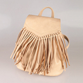 Retro Simple Fringed Backpack Women Fashion Solid Color Flap Bag Tassels Drawstring Small Bag Ladies Casual