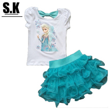 Children Baby Girls Clothing 2016 Kids Outfits Cotton Girls Summer Suits Casual Girls Clothing Set Fashion Clothes for Kid 2-7Y(China (Mainland))