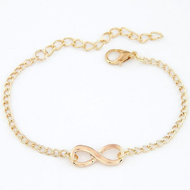 Sunshine factory price exquisite 8 infinity bracelet silver gold and black metal bracelet fashion for women hot selling