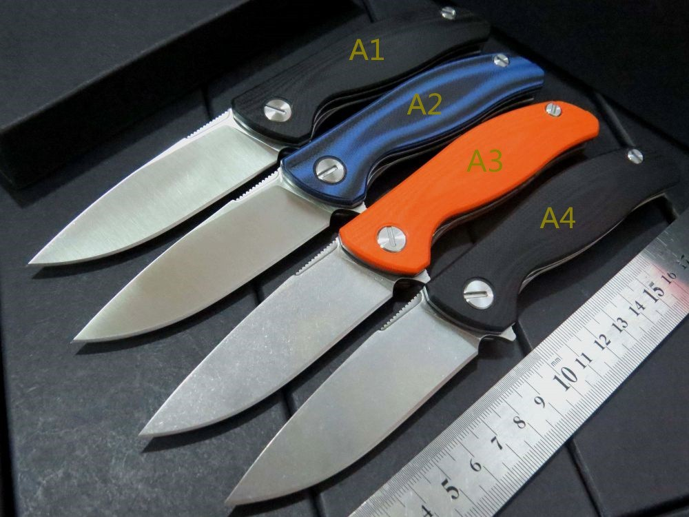 Buy Top quality Custom Small F3 ball bearing folding knife D2 steel blade+ G10 steel handle hunting camping survival knives cheap