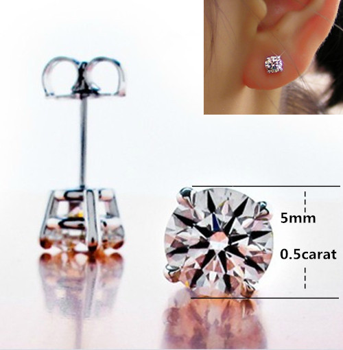 Wholesale 4Ct Platinum Plated Engagement Earrings 4 Prongs Synthetic Diamond Stud Earrings for Women 925 Sterling Silver Jewelry(China (Mainland))