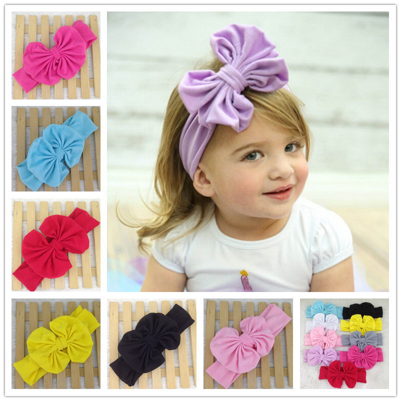 Cotton Baby Head Wrap Bow Top Knot Big Bow Headwrap Baby Headband Floppy Bow Headband Big Bow Headband Top Knot Headwear(China (Mainland))