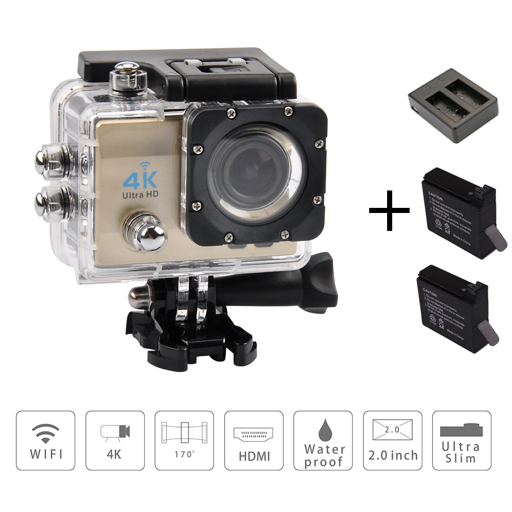 4k sport action cameras waterproof 1080p wifi sports hd dv 2.0 LCD 170 fotocamera subacquea Helmet Mini Cam +Charger+2 Battery(China (Mainland))